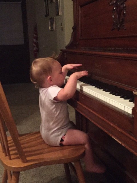 Playing the piano, another first