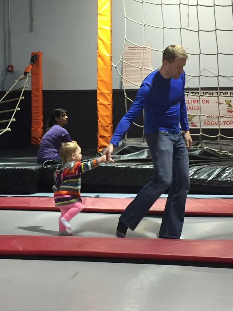 At the trampoline gym; Daddy took such good care of me!