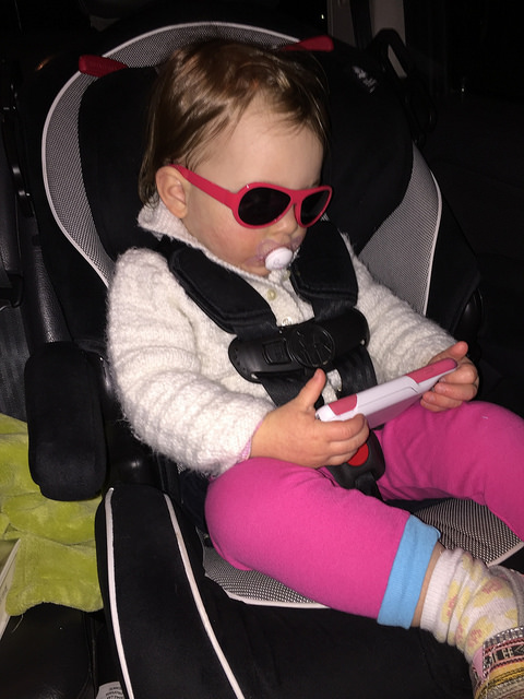 You insisted on this combination of glasses, binkie, and watching a show on Mommy's phone - lol!