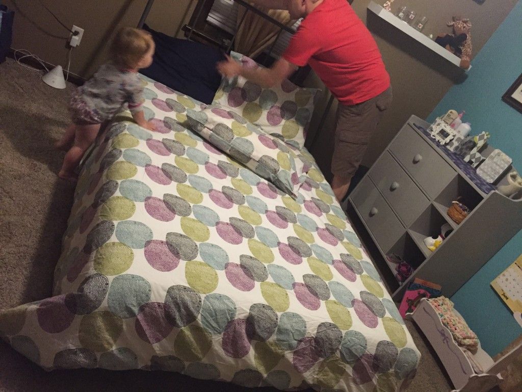 Putting final touches on your big girl bed with Daddy!