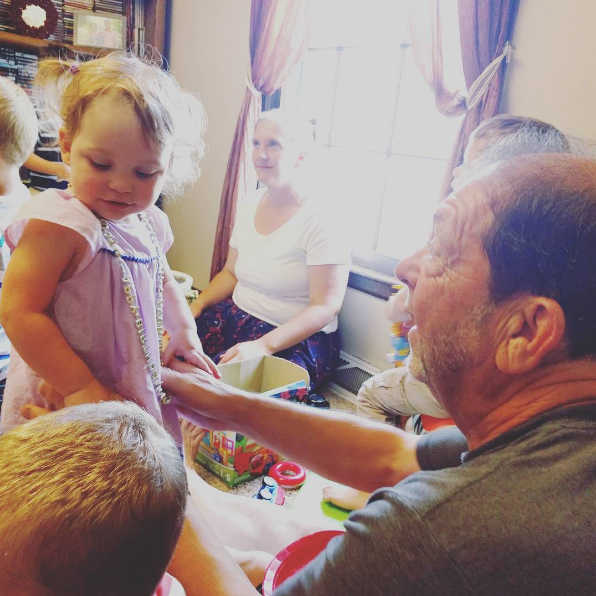 You were so happy that Pop-pop came to see you turn 2!