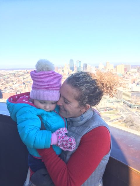 Mommy and I atop the Liberty Memorial! #itwascoldthatday #kcskyline