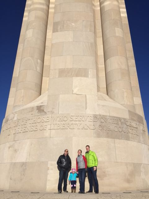 In front of the Liberty Memorial with Pop-pop, Daddy, and Mommy